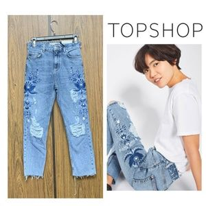 NEW Topshop High Rise Embroidered Straight Jeans